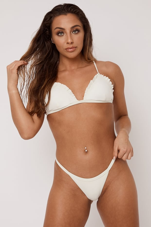 e3f4e3fb9b Alohi Cream Ribbed Frill Edge Triangle Bikini