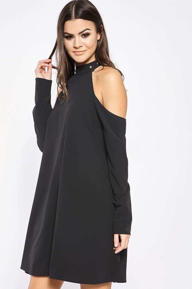 AVARIE BLACK BUCKLE CHOKER COLD SHOULDER DRESS