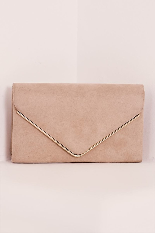 NUDE FAUX SUEDE ENVELOPE CLUTCH BAG