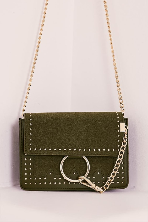 KHAKI FAUX SUEDE RING CLASP STUDDED BAG