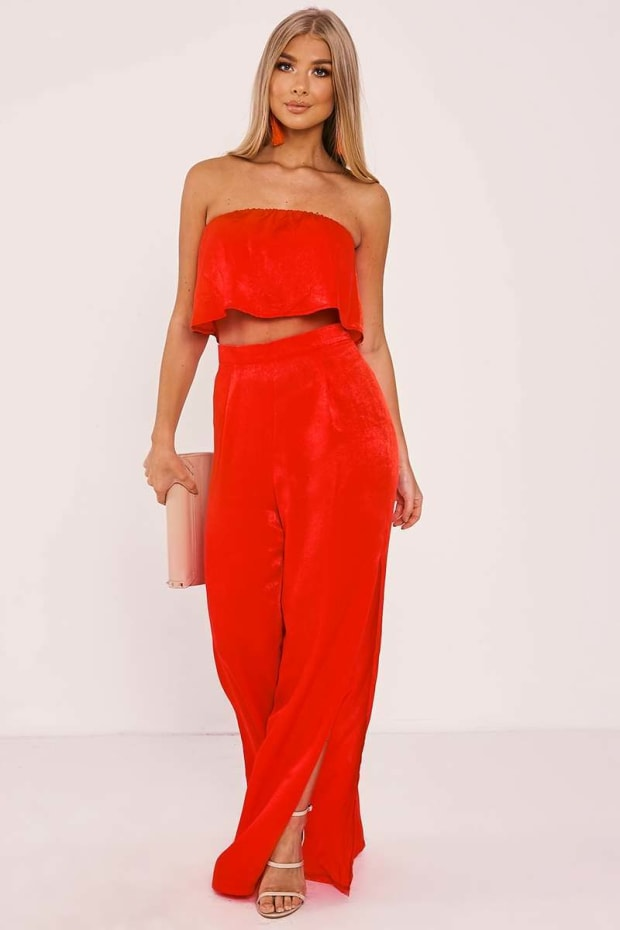 BILLIE FAIERS RED SATIN PALAZZO TROUSERS