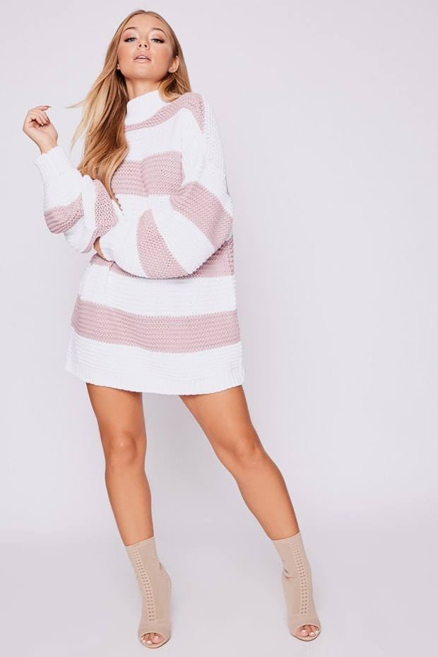 BILLIE FAIERS ROSE STRIPE CHUNKY OVERSIZED JUMPER DRESS