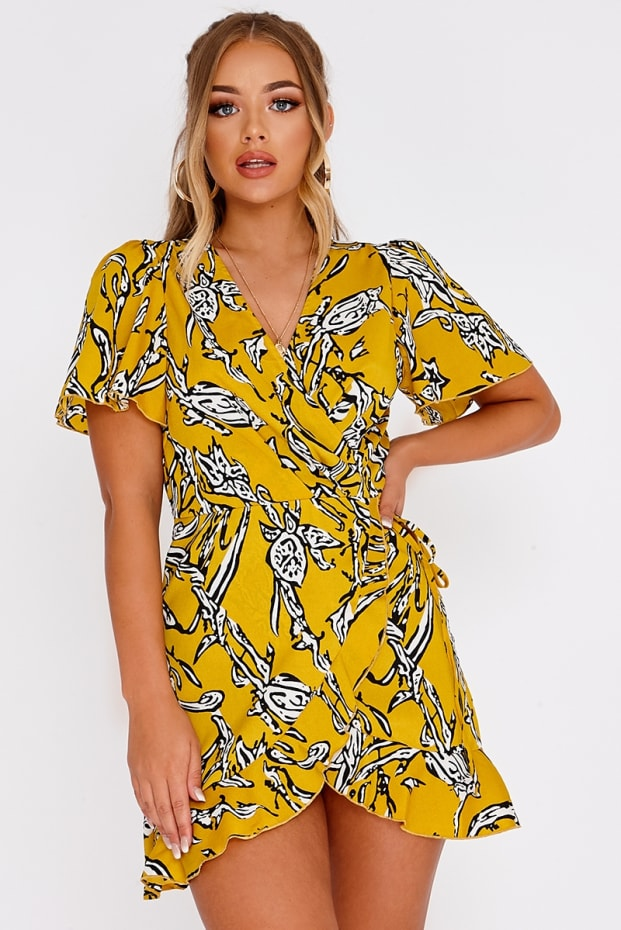 BILLIE FAIERS YELLOW ABSTRACT FLORAL WRAP FRONT MINI DRESS