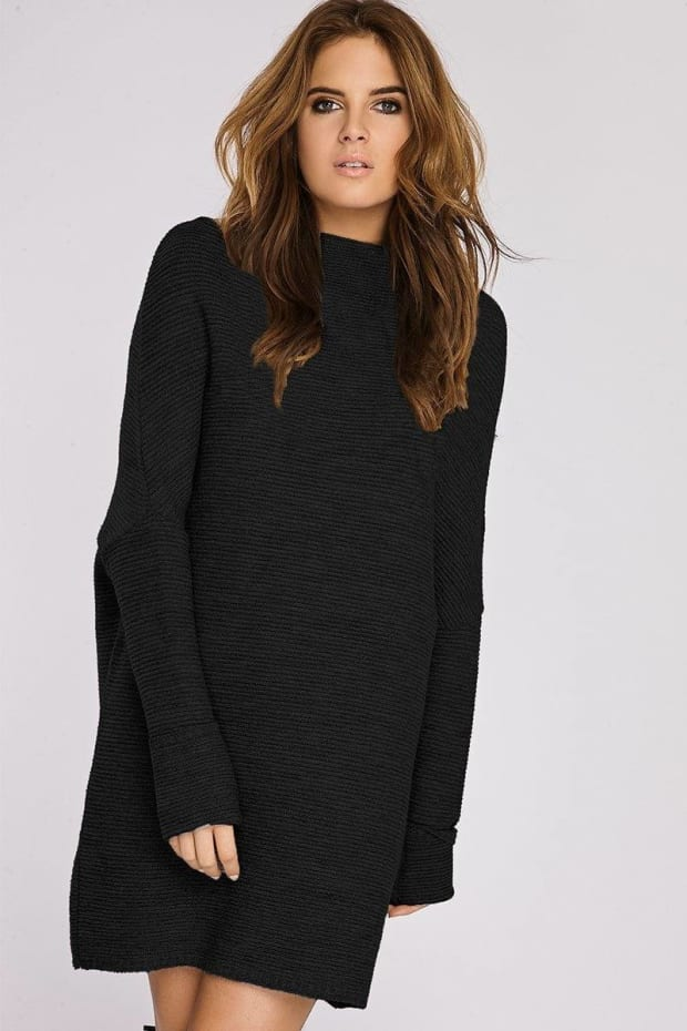 Binky Black Slouch Jumper Dress