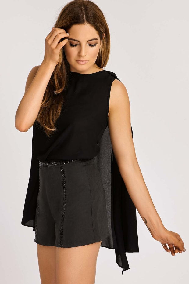 BINKY BLACK SUEDETTE HIGH WAISTED SHORTS