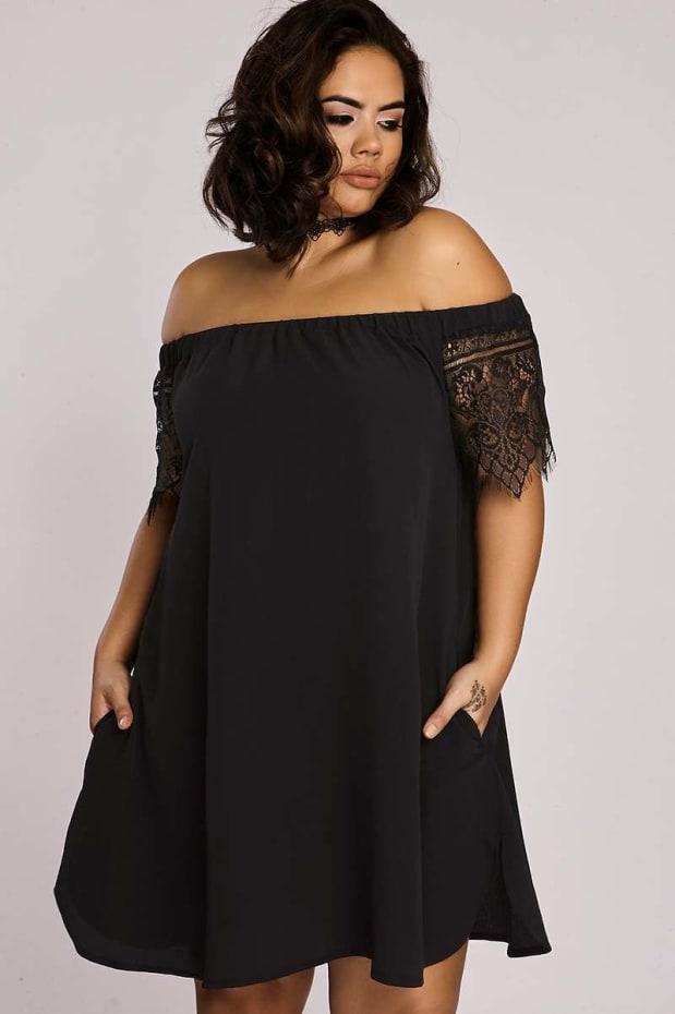 Curve Binky Black Lace Sleeve Bardot Swing Dress