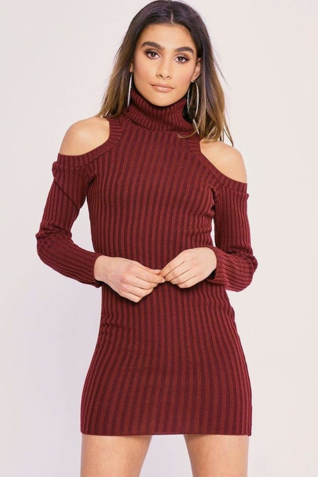 CHARLOTTE CROSBY WINE COLD SHOULDER ROLL NECK JUMPER DRESS