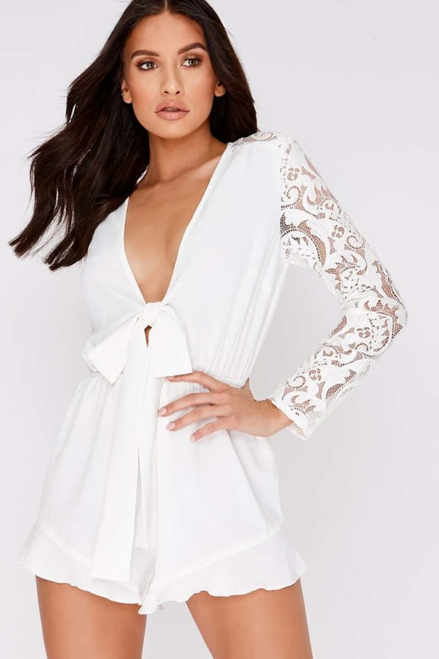 CHARLOTTE CROSBY WHITE TIE FRONT LACE SLEEVE PLAYSUIT
