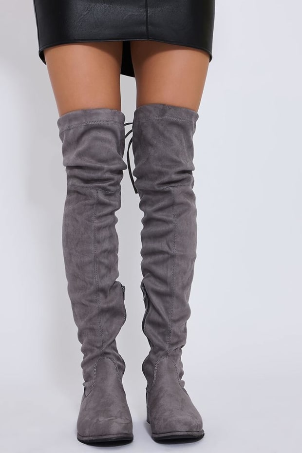 bf6a099f437 Saf Light Grey Stretch Faux Suede Over The Knee Boots