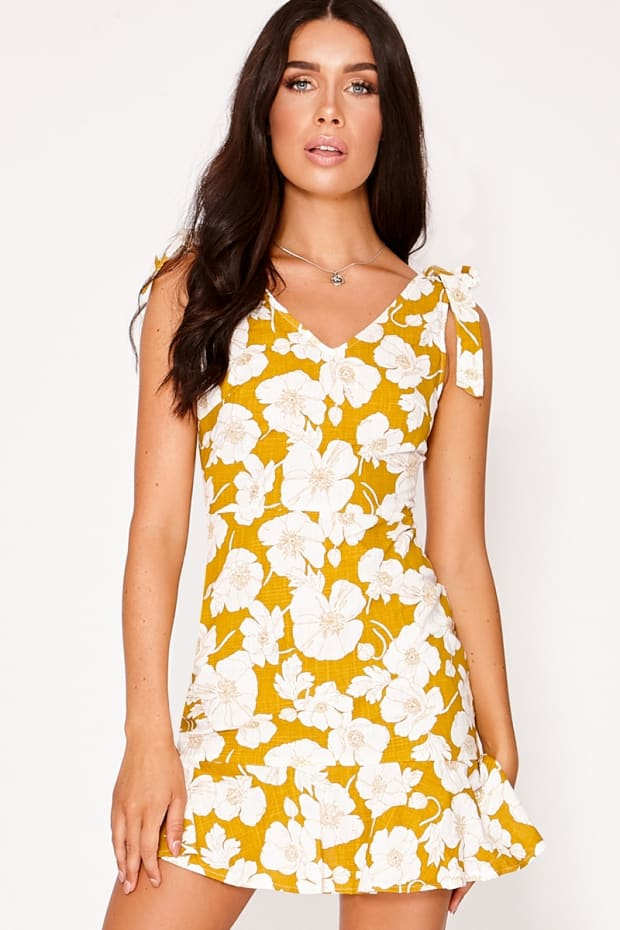 HEILY MUSTARD FLORAL TIE SHOULDER MINI DRESS