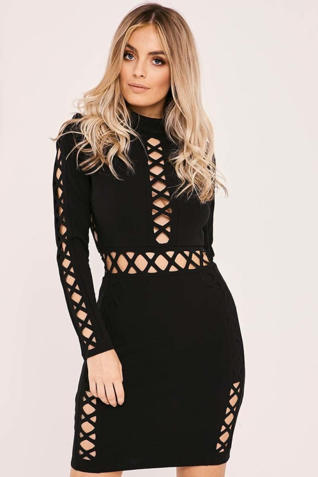 CARREE BLACK CUT OUT DETAIL BODYCON MINI DRESS