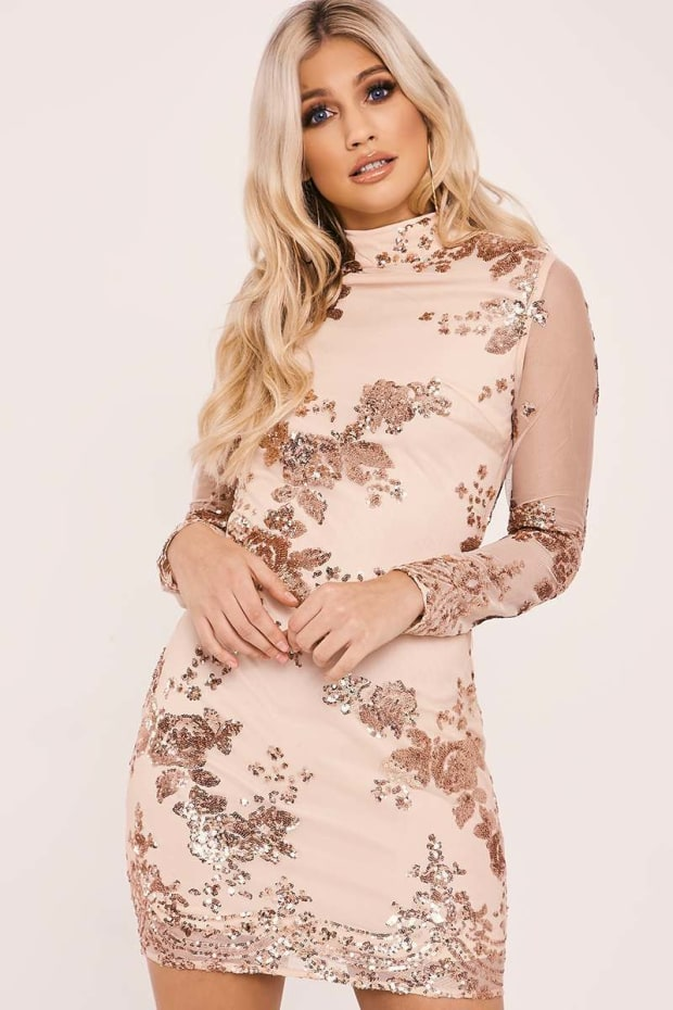 FAERYN NUDE HIGH NECK FLORAL SEQUIN LONG SLEEVE  DRESS