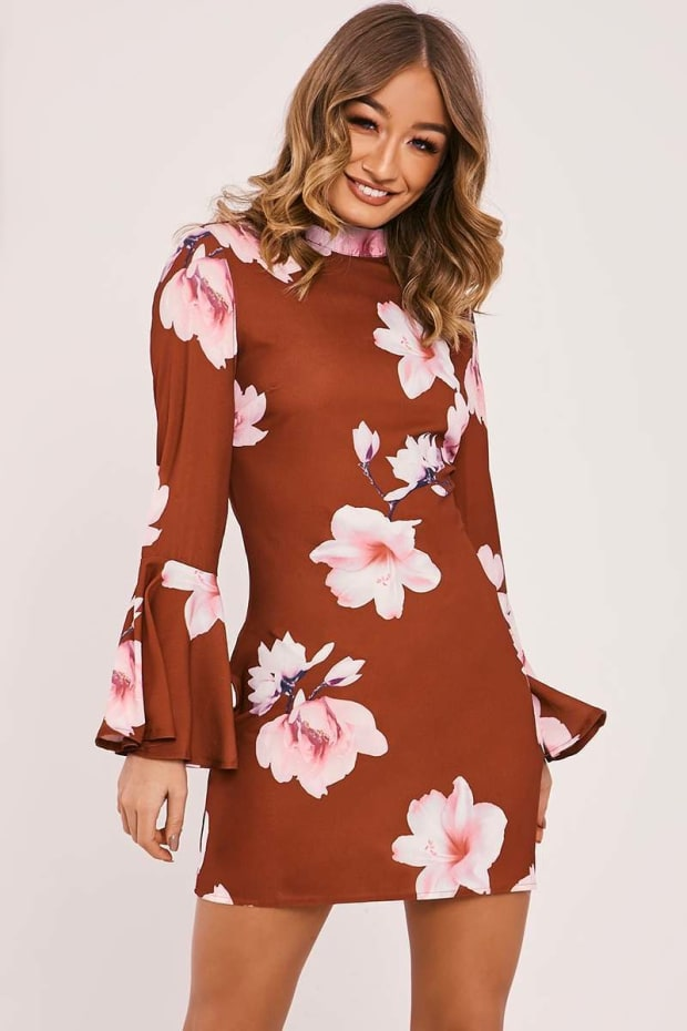CAIDAN RUST FLORAL FRILL SLEEVE FLARED DRESS
