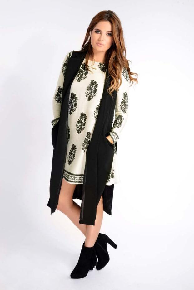 Binky Black Sleeveless Coat With Side Splits