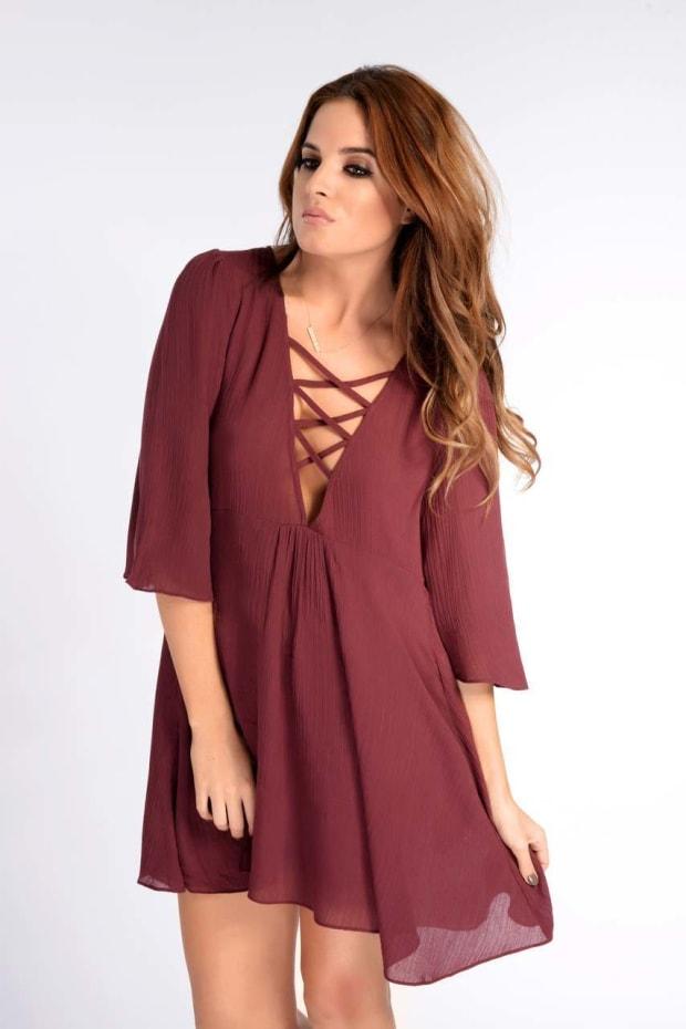 Binky Cheesecloth Wine Swing Dress