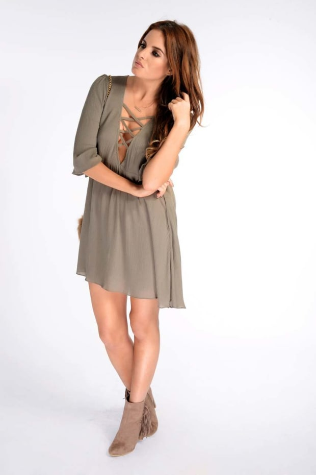Binky Khaki Cheesecloth Swing Dress