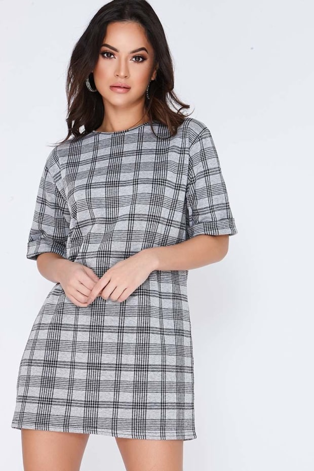 EBONI GREY CHECKED T SHIRT DRESS