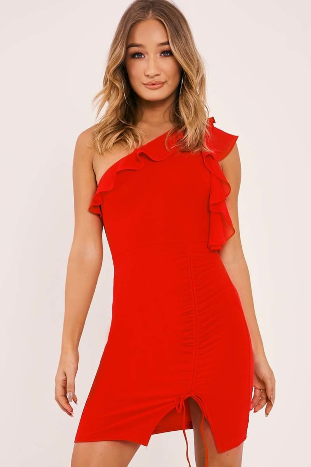 CALIE RED ONE SHOULDER FRILL RUCHED DRESS