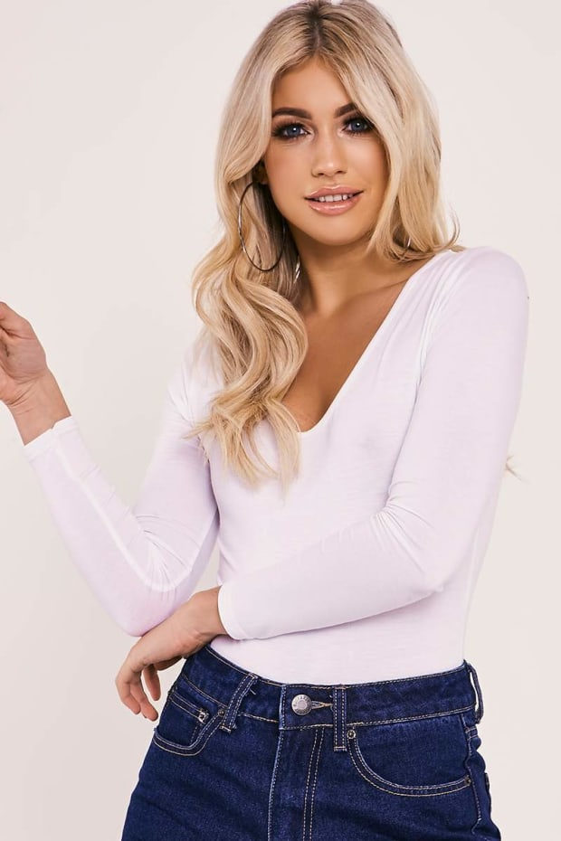BASIC LONG SLEEVE WHITE BODYSUIT