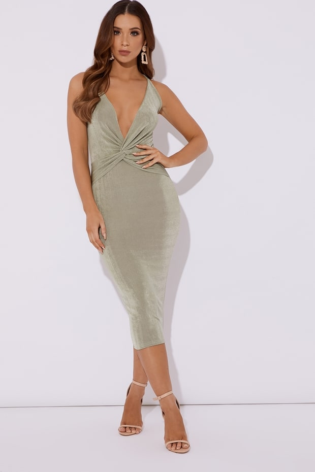 ADISYN SAGE GREEN SLINKY PLUNGE TWIST FRONT MIDI DRESS