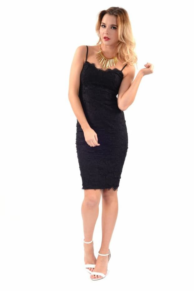 Pippa Lace Midi Dress (Black)