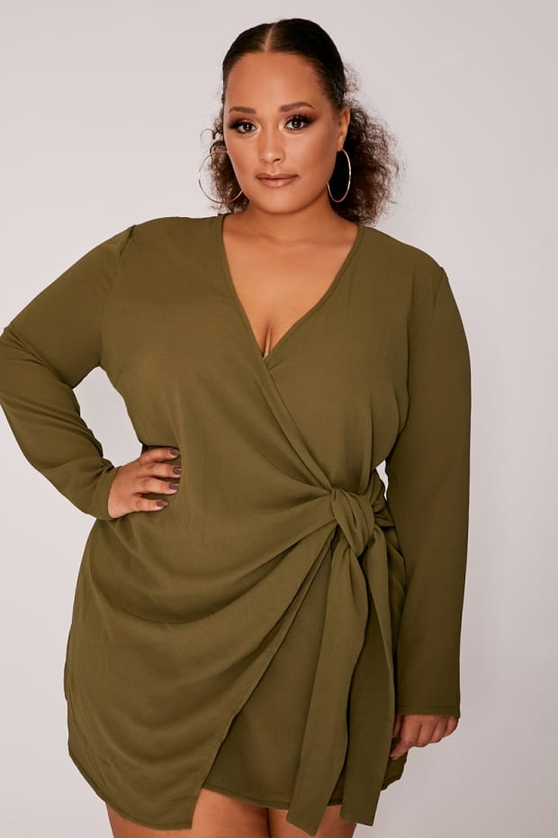 CURVE KATHERIN KHAKI WRAP FRONT LONG SLEEVE DRESS