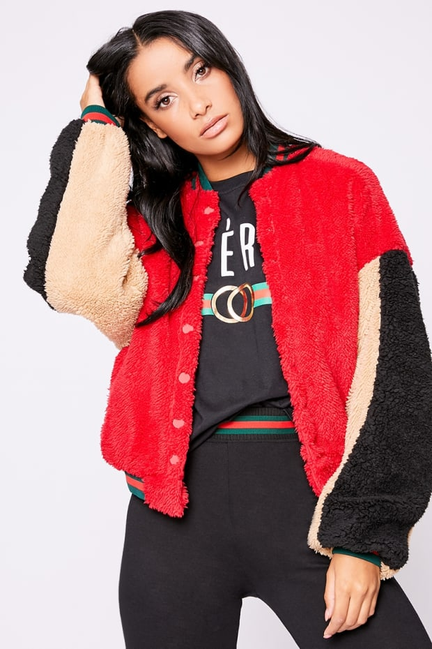 ARMIE RED CONTRAST TEDDY FUR BOMBER JACKET