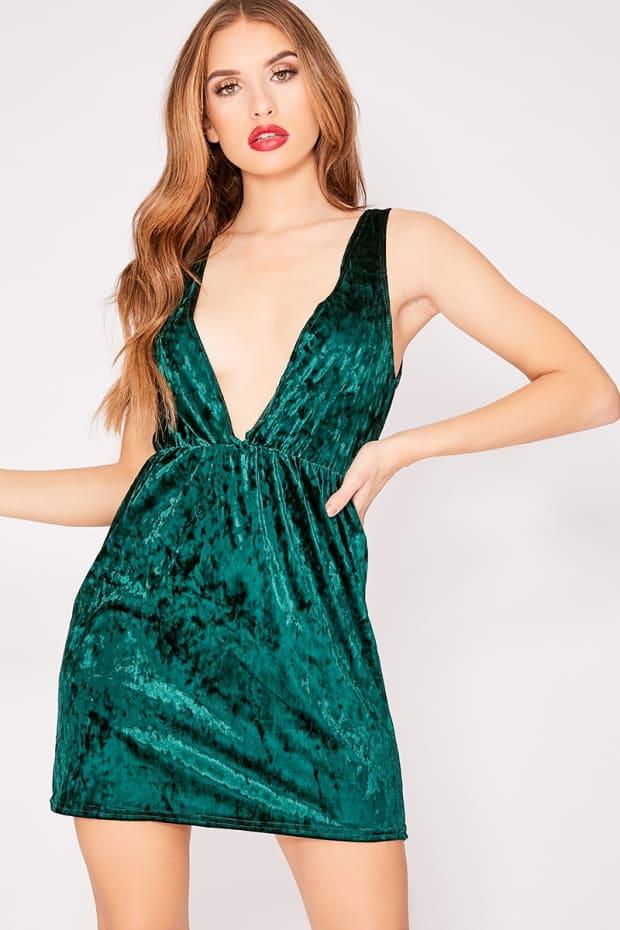 20459dd30fc7 Esmi Green Velvet Plunge Mini Dress