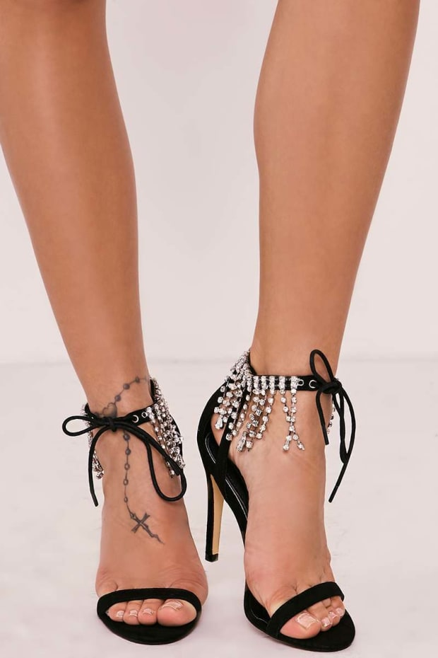 ZALEY BLACK DIAMANTE TRIM STRAPPY BARELY THERE HEELS