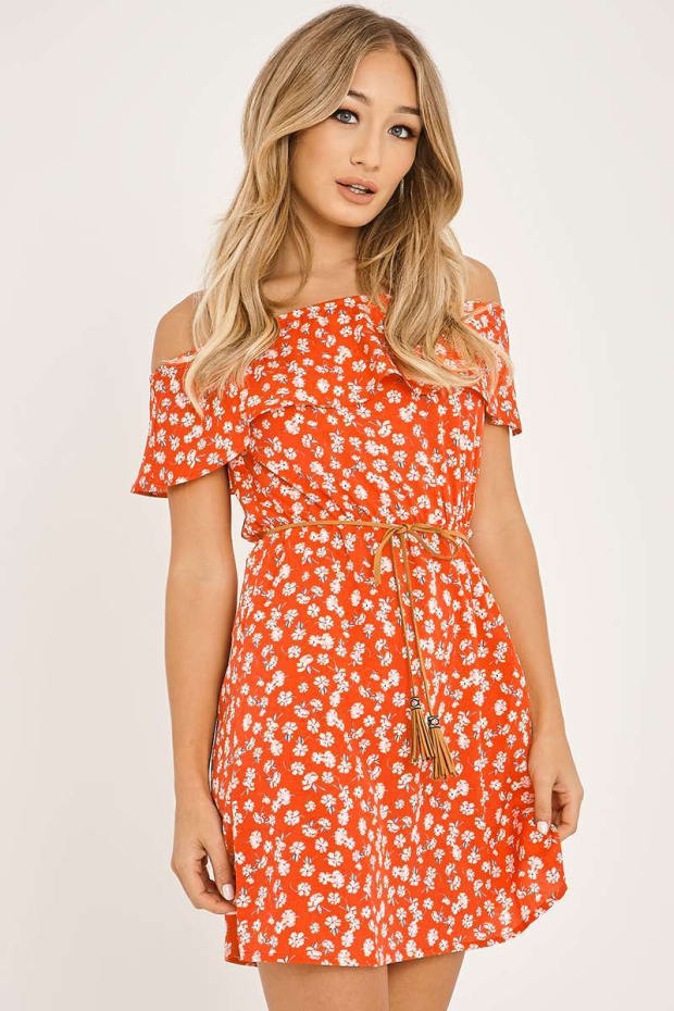 FABRIZIO RED FLORAL BARDOT FRILL DRESS