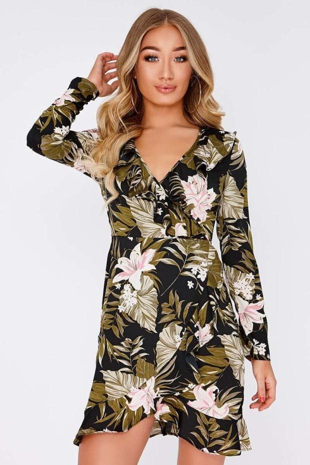 31f29a8b999 Eleni Black Palm Print Long Sleeve Wrap Dress