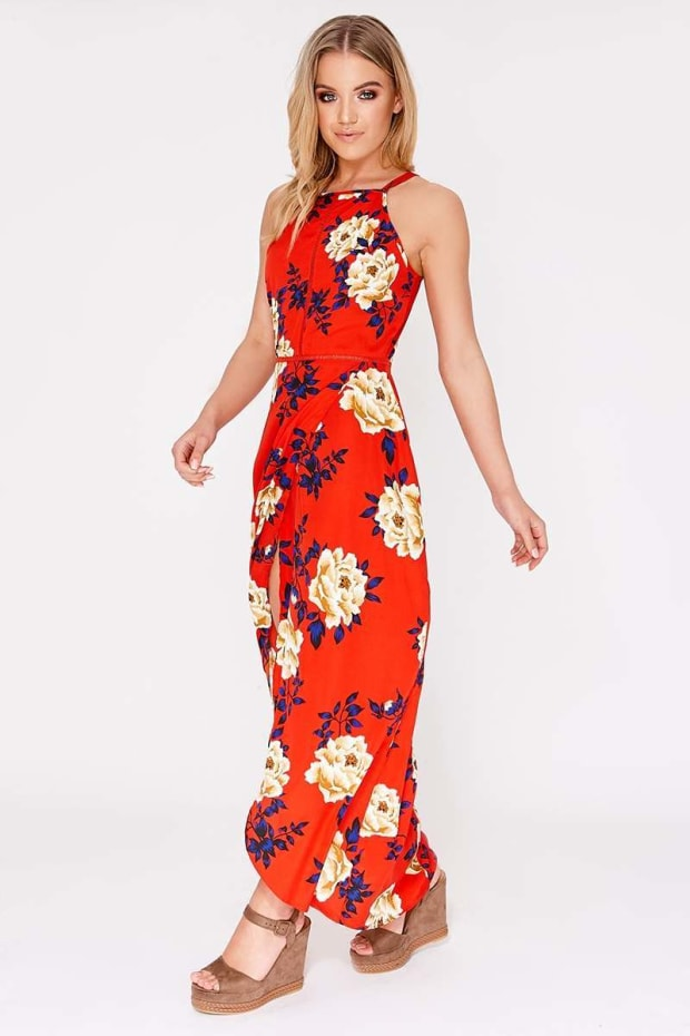 BASSIA RED FLORAL MAXI DRESS