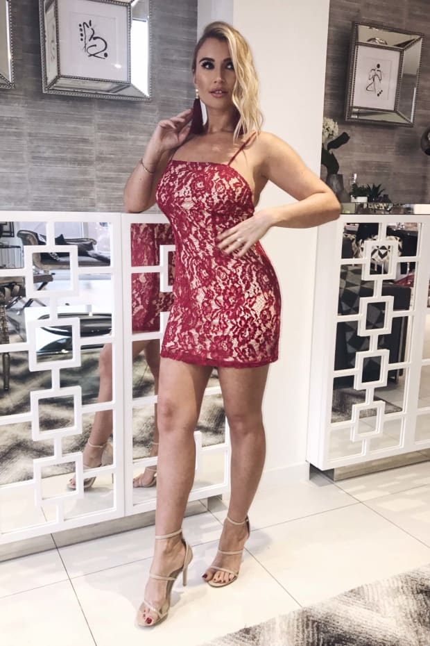 BILLIE FAIERS BERRY STRAPPY LACE BODYCON DRESS