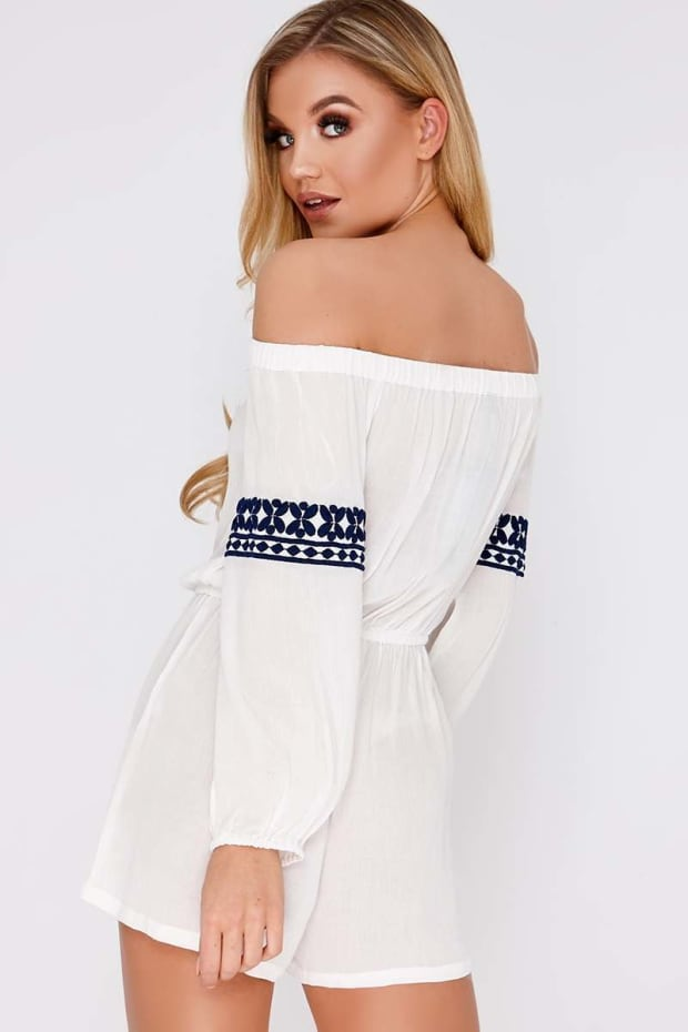 8dc1f274ced Our email address is  customerservices inthestyle.com. ESTELE WHITE  EMBROIDERED BARDOT PLAYSUIT