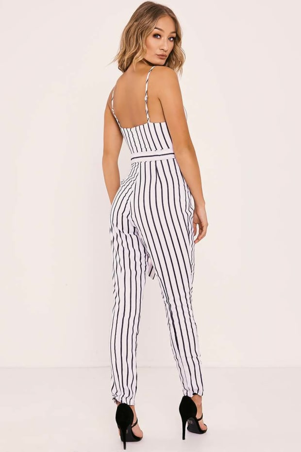 c20f30ab55c7 Previous. SHANEIKA WHITE STRIPED PLUNGE BELTED JUMPSUIT. SHANEIKA WHITE  STRIPED PLUNGE BELTED JUMPSUIT