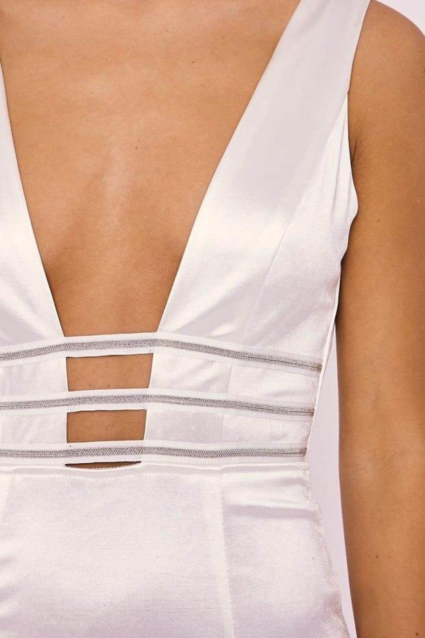 ABENA WHITE SATIN PLUNGE DIAMANTE TRIM DRESS. Previous 56c5eb75d