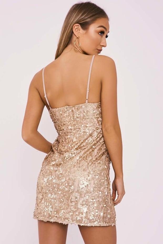 Adisa Gold Sequin Sparkle Plunge Mini Dress ✓ T Shirt Design 2018 f8e557e3d