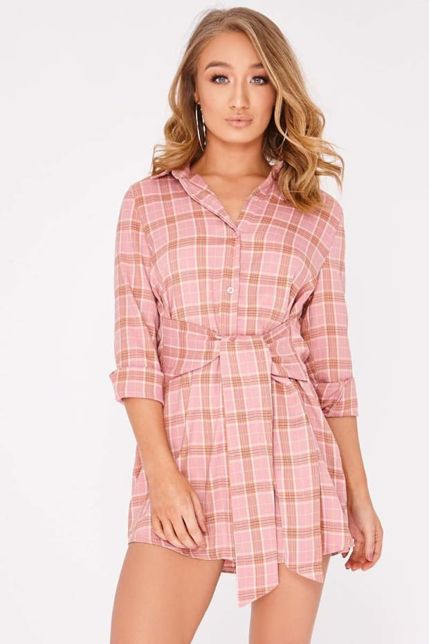 CHAYCE PINK CHECKED WRAP SHIRT DRESS