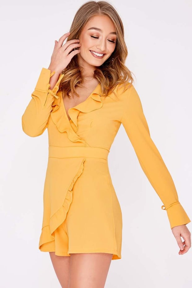 RIA MUSTARD FRILL WRAP FRONT PLAYSUIT