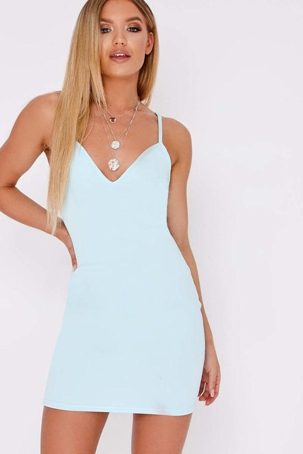 BASIC BLUE SCUBA PLUNGE BODYCON DRESS