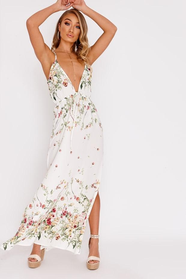 AELLA CREAM FLORAL PLUNGE MAXI DRESS