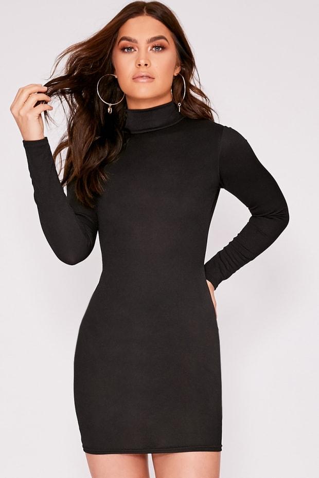IZZELLA BLACK HIGH NECK BODYCON DRESS