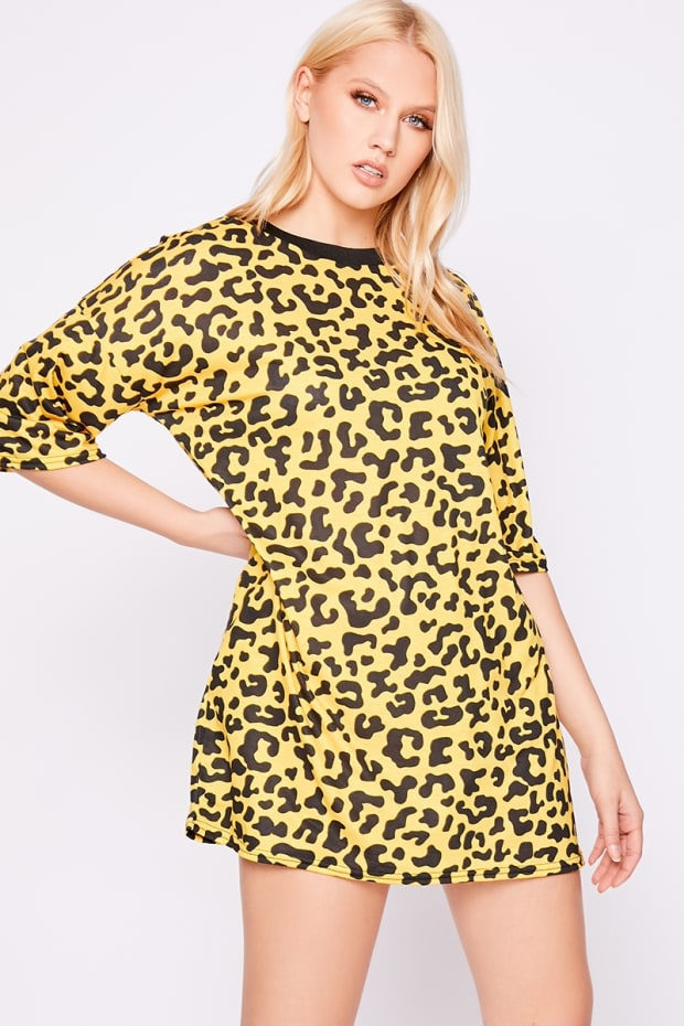 IGGI YELLOW LEOPARD PRINT OVERSIZED T SHIRT DRESS