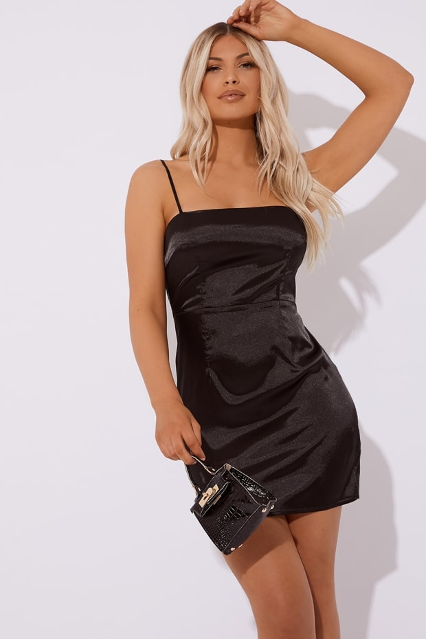 ETHLIN BLACK SQUARE NECK SATIN CAMI MINI DRESS