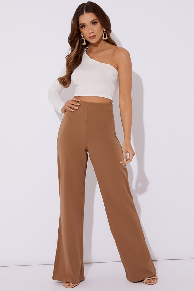 NOOMAI CAMEL WIDE LEG TROUSERS
