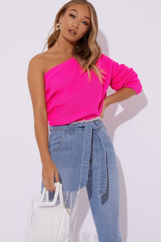 NALANI BRIGHT PINK ONE SHOULDER KNITTED JUMPER