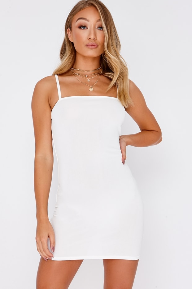 cfff10092beb Basic White Crepe Square Neck Bodycon Dress
