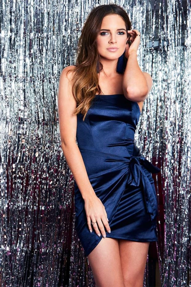 BINKY NAVY SATIN WRAP FRONT MINI DRESS