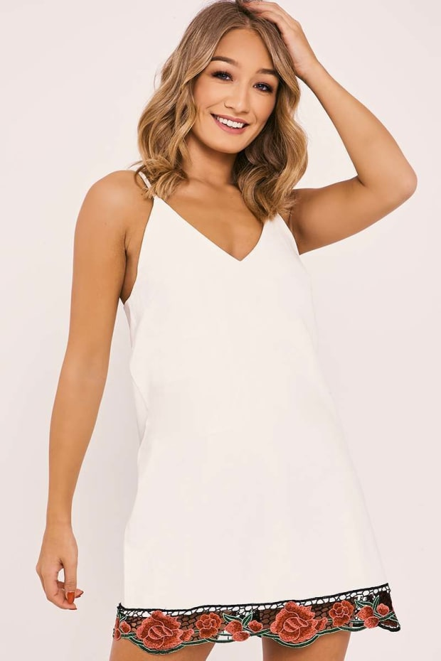 ELILI WHITE FAUX LEATHER APPLIQUE TRIM DRESS