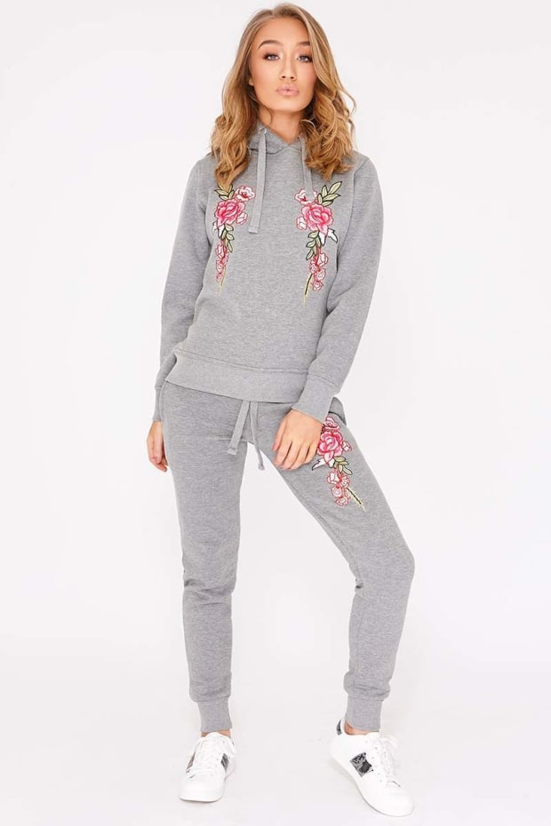 FLOSSIE GREY FLORAL EMBROIDERED HOODED LOUNGEWEAR SET